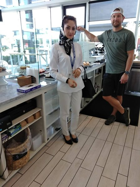 Saieda Ahmadi visiting a coffee shop in Oklahoma City