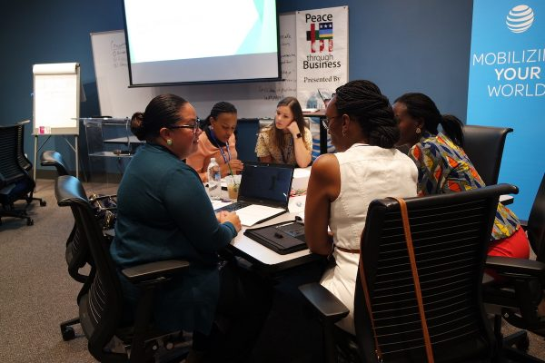 Volunteer business coaches working with PTB® students during Leadership Development 2018 at AT&T University in Las Colinas, TX