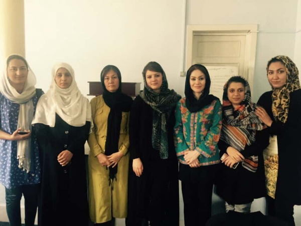 2016-17 Board of Directors for the Afghanistan PEACE THROUGH BUSINESS® Network: From Left – Homa Usmany, Bayani Salimi, Fahkria Ebrahimi, Sadaf Sadat (Vice President), Zahra Jafar (President), Muzhda Ehsan and Razia Aseman. Not Pictured: Lina Shafaq, Herat Province (Vice President in charge of Provinces). – September 2016, Kabul