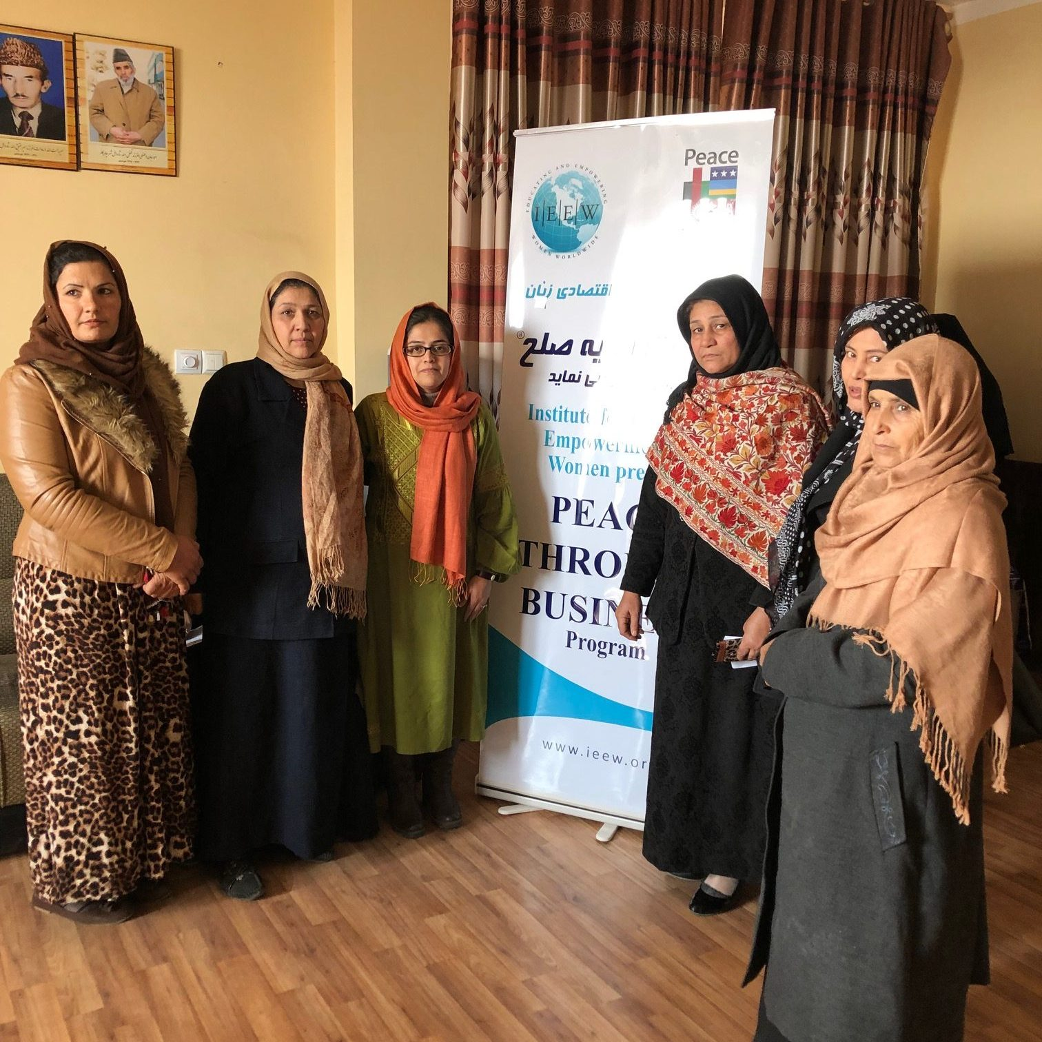 Facilitator Manizha Wafeq stands with five trailblazing women entrepreneurs in Parwan, Afghanistan during the 2018 fall PTB® / NU Pathways mini-courses.